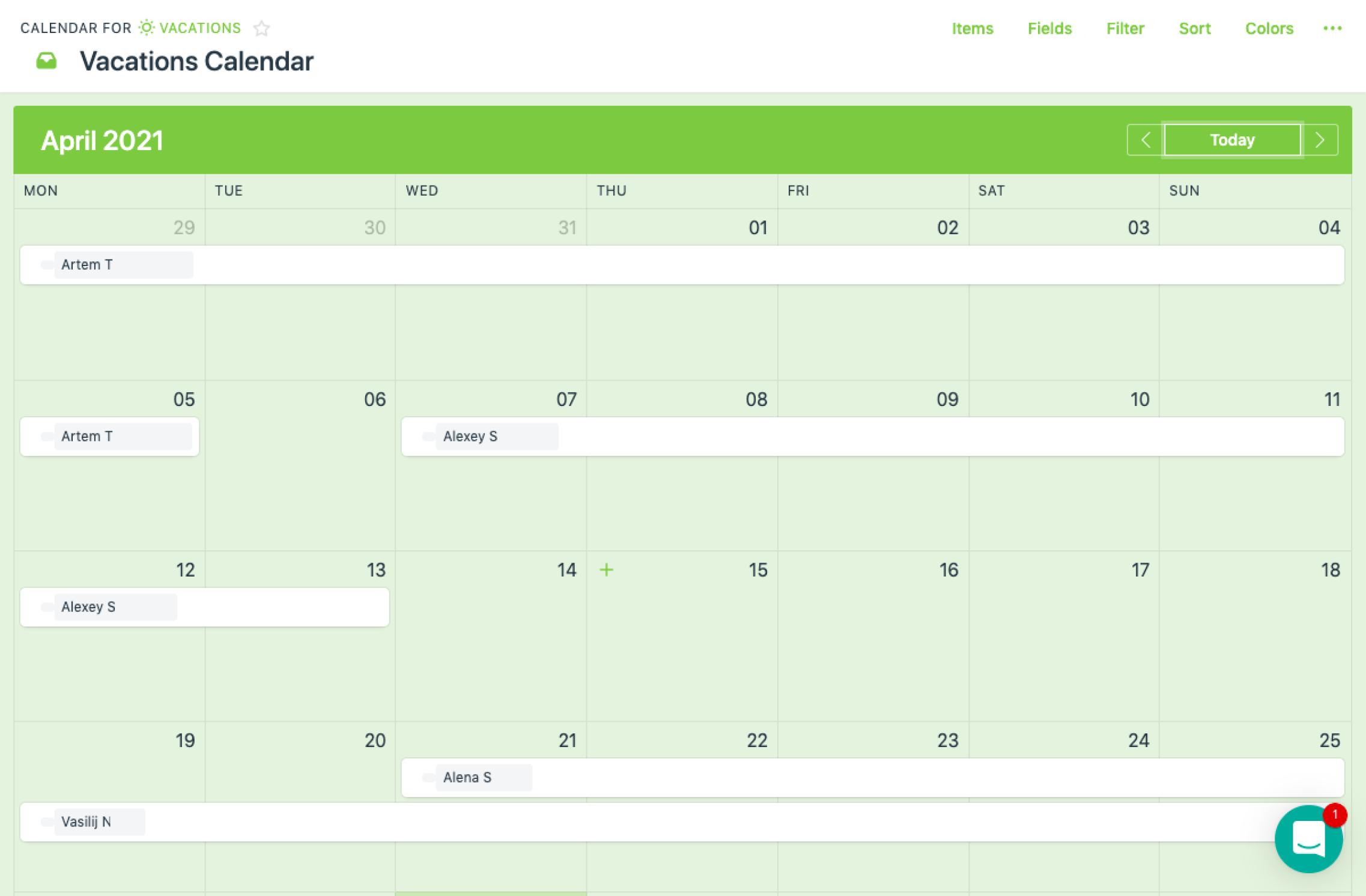 vacation calendar